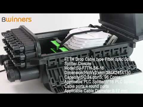 SJ-FTTH-SK-16 FTTH Drop Cable type Fiber optic Splice & Splitter Closure