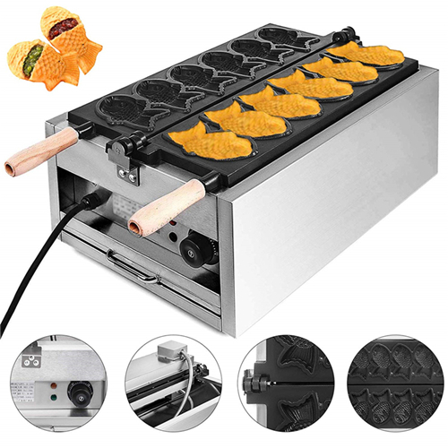 mold maker machine automatic electric snack commercial small japanese fish shape shaped magikarp fish waffle maker taiyaki maker