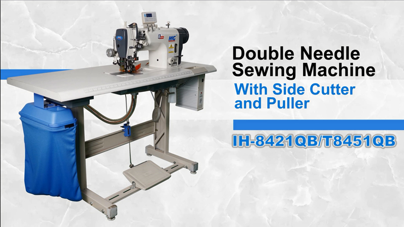 IHG IH-8421QB/T8451QB Direct Drive Double Needle Sewing Machine with Side Cutter and Puller