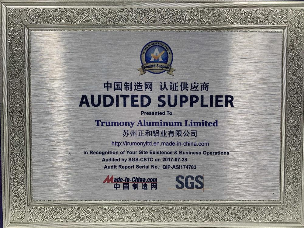 AUDITED SUPPLIER Presented To Trumony Aluminum Limited