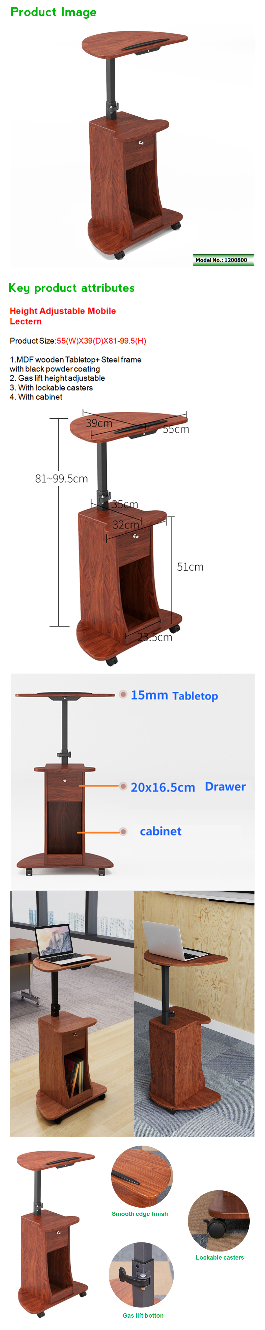 mobile height adjustable lectern