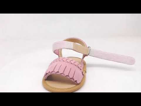 Buckled edgefold leather material baby girl sandals