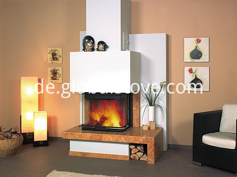 Wood fireplace and chimney