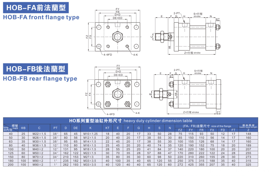 front flange type heavy oil cylinder
