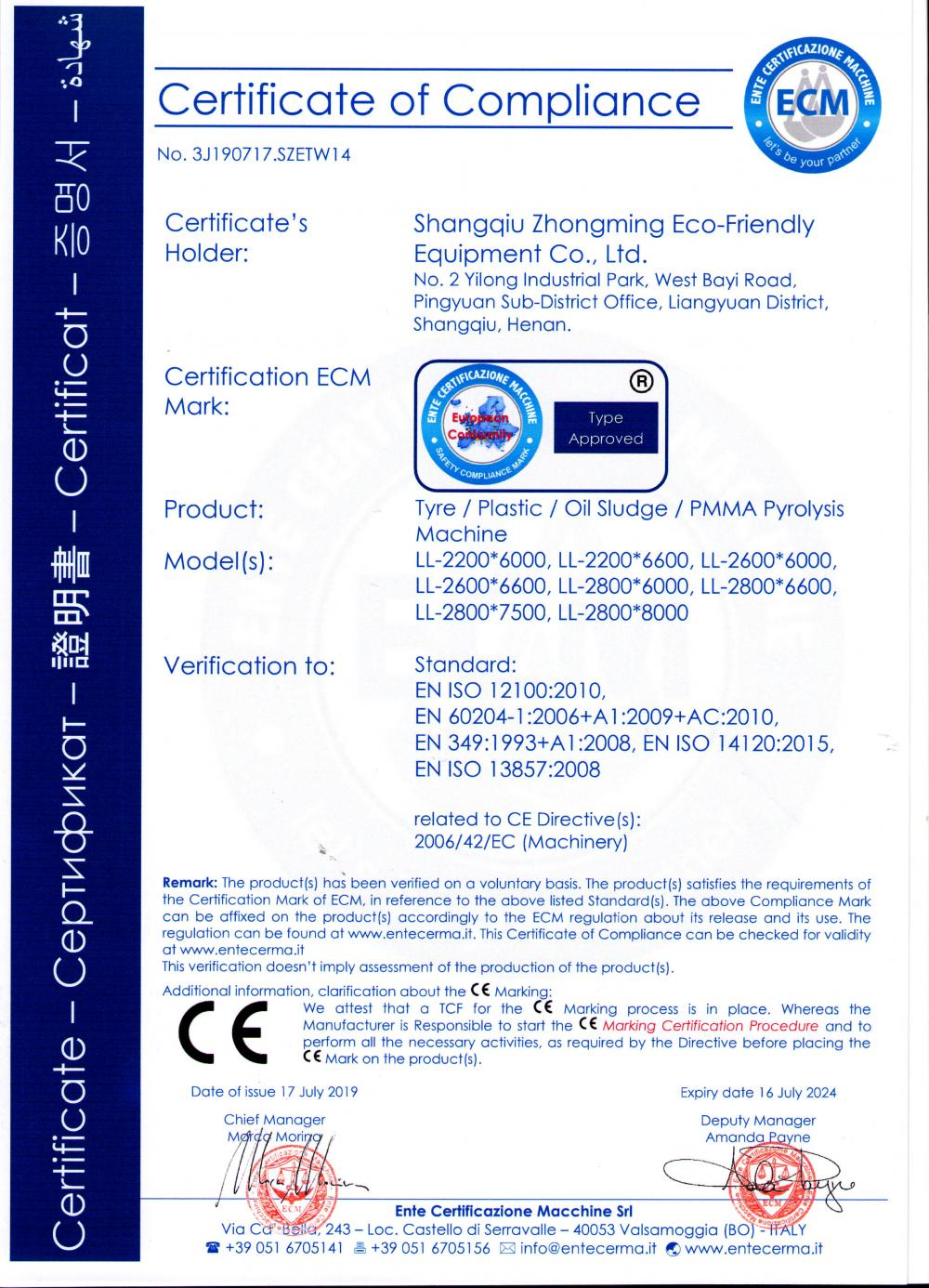 CE certification for Waste Pyrolysis machine