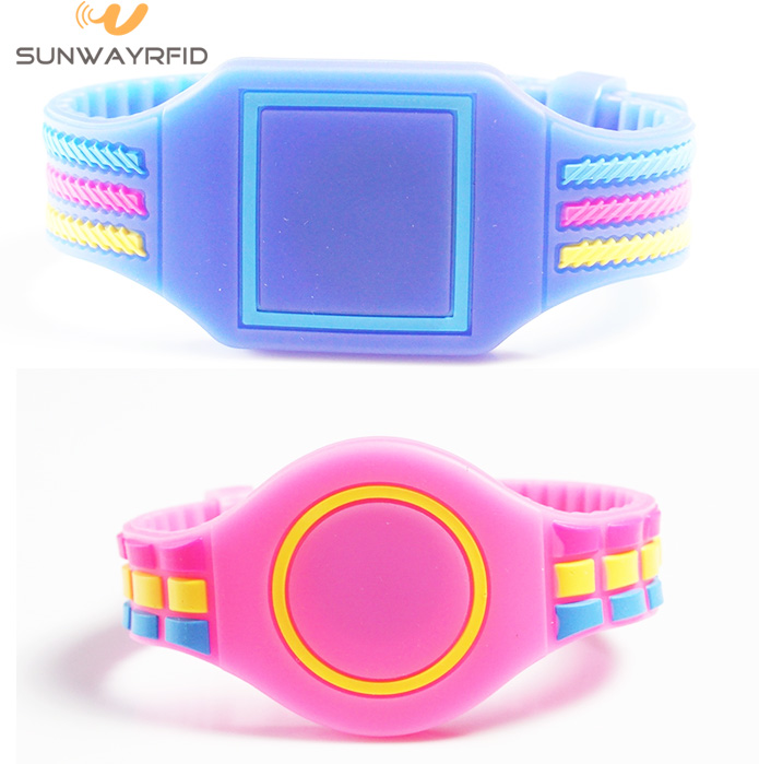 Adjustable silicone rfid wristband, rfid bracelet with epoxy design