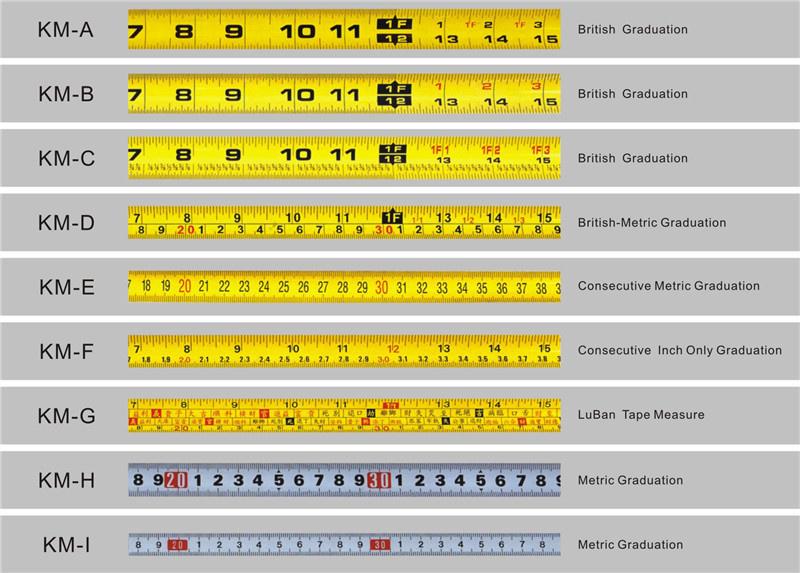3M 5M Auto Lock OEM ruban à mesurer vente d'usine ABS boîtier avec ruban à mesurer en caoutchouc