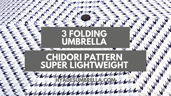 Chidori Pattern Super-light Weight 3 Folding Umbrella
