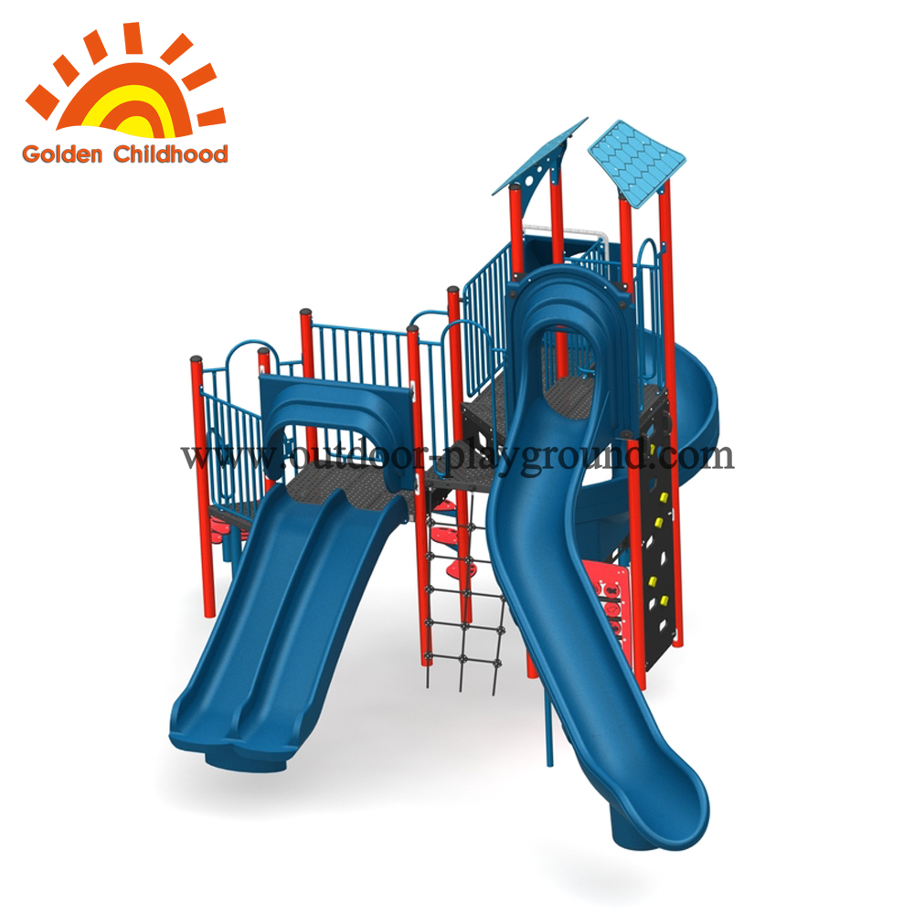 Preschool outdoor plastic slide playstructure