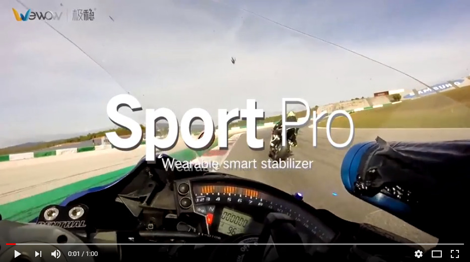 Wewow Sport Pro wearable smart stabilizer test on motorcycle race