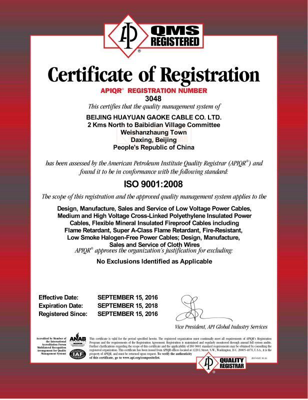 Certificate of Registration ISO 9001:2008