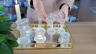 hand made decorative crystal glass taper candle holders