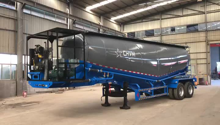 2 Axles Cement Dry Bulk Tank Powder Material Transporter Semi Trailer