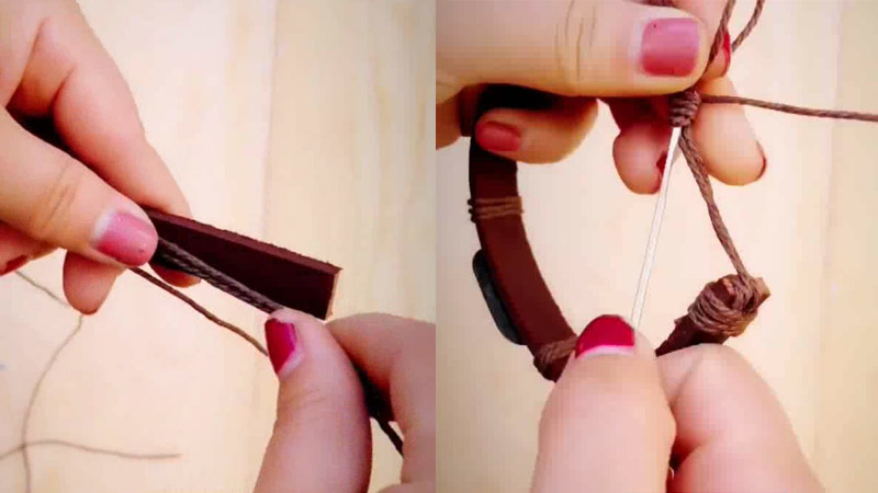 How to make a leather bracelet with adjustable cord