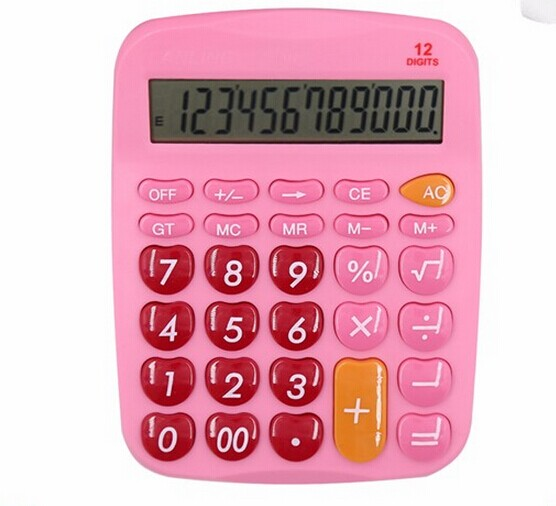 solar power 12 digits office desk calculator with dual power