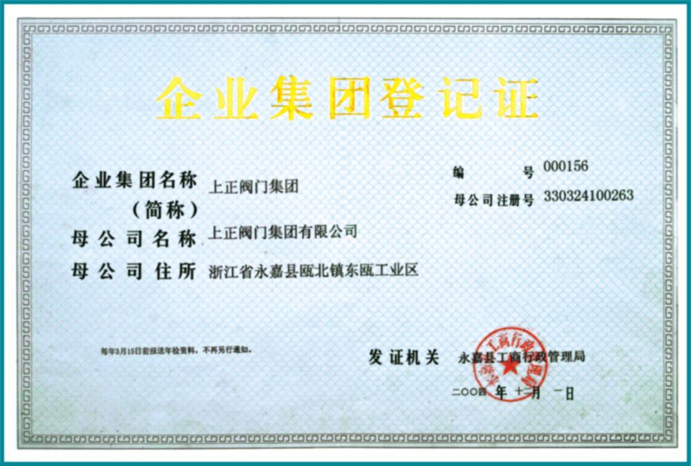Enterprise group registration certificate