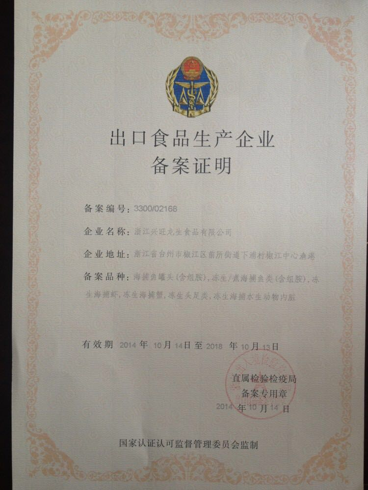 Export Food Production Enterprise Record Certificate
