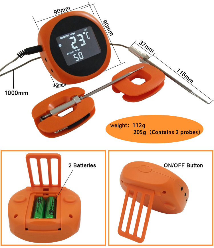 Smart Bluetooth BBQ Oven Meat Thermometer with 6 Food Grade Probes