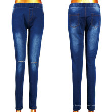 Yiwu heiße Dame Woven Cut Jeans