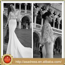 ID 1003 2015 New Arrival Two Piece Mermaid Wedding Dress Full Length Long Train Half Sleeve V Neck Bridal Gown With Open Back