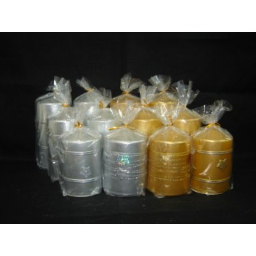 OPP Bag Packed Schöne Metallic Pillar Candle