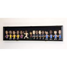 Black Wood Finish Black Felt Background Horizontal Bobble Head Action Figures Doll Display Case Cabinet Wall Rack Lockable