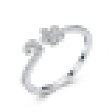 Anel de Abertura de Prata de Ameixa Pequena 925 Feminina