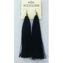 Black Fabric Earring with Metal Fashion Jewelry