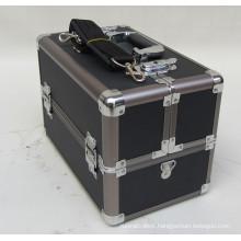 2013 Black ABS Aluminum Makeup Train Case Fold Trays Pallet