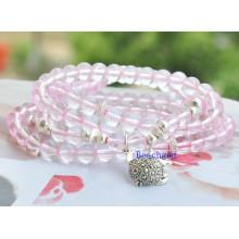 Natural Rose Quartz Beads with Silver Charm Bracelet (BRG0008)