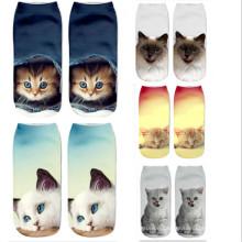 2019 Character 3D animals printed ankle socks, cute cat printed unisex low cut socks