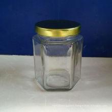 4oz Hexagonal Glass Jam Jars with Metal Lids on Sale