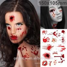 Autocollant de tatouage de conception de Costom de série d'Halloween, tatouage imperméable à l'eau
