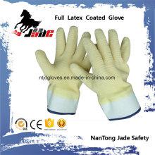 Cotton Liner mit voll gelb Latex Crinkle Finished Safety Cuff Arbeitshandschuhe
