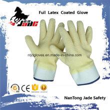 Doublure en coton avec garniture de latex entièrement jaune Gants de sécurité à manchette de sécurité