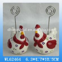 Cute cock designed ceramic name card holder