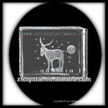 K9 3D grabado en láser Capricornio dentro del bloque de cristal