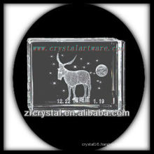 K9 3D Laser Engraved Capricorn Inside Crystal Block