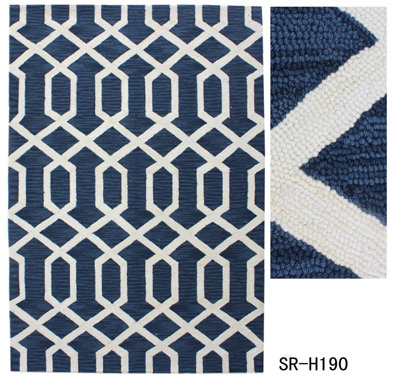Polyester Hand Hooked Rug with Geometry Design