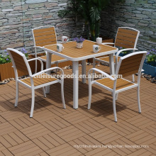 2017 new 5pcs aluminium garden PS wood furniture