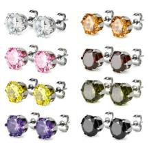 Carisma 316L titânio aço cúbicos Zirconia pavimentar cristal redondo Stud Stud Earrings para meninas Mulheres
