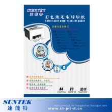 Wasserbasiertes Laser Wasser Aufkleber Transferpapier in Transparent