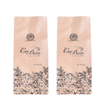Kertas Kraft Kompos Datar Bawah Biodegradable Coffee bag