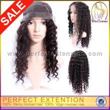 For Black Women In Stock Mongolian Virgin Human Hair Jewish Afro Black Curly Wig