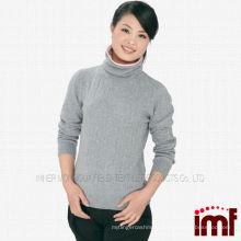 Ladies Turtleneck Grey Knit Cashmere Sweater