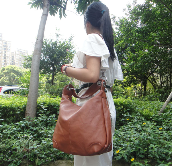 Leather Messenger Hobo Bag
