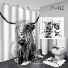 100%polyester designed  cow animal printed shower brand window 60 x 72inch curtain curtains for bathroom set