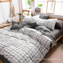 Hot Sale Condo White Plaid High Quality Cotton Fabric Bed Sheet