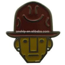 2016 usine pas cher prix cowboy personnalisé émail broche métal emoji porte-badge