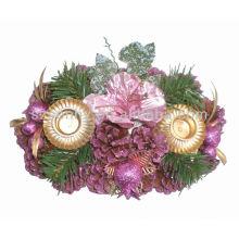 Bougeoir naturel en sapin de Noël avec paillettes